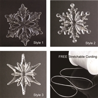 Large Acrylic Snowflake Christmas Ornaments PLUS 5 yards FREE Elastic Stretch Jewelry Making Beading Thread Cord Clear 0.7mm