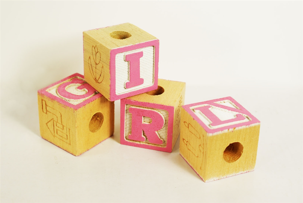 decorative baby wood blocks baby shower decoration baby girl pink