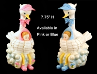 "Stork Holding Baby Baby Shower Cake Top Decoration Centerpiece Ceramic 7.75""H"