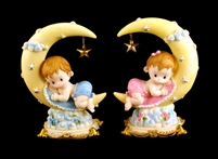 "Baby with Moon Baby Shower Cake Top Decoration Centerpiece Ceramic 7.75""H"