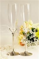 Big Diamond  Wedding Champagne Toasting Glasses Champagne Flutes Engrav