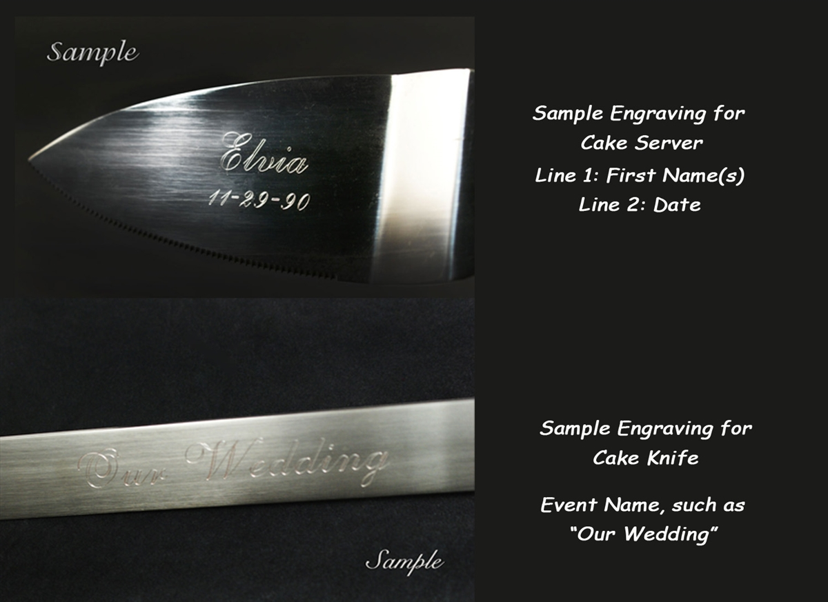 Silver Plated Diamond Wedding Cake Knife Set Engraving Personalized