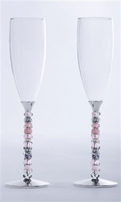 Pink Beaded Wedding ChampagneToasting Glass Set Engraved