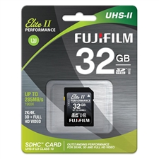 Fujifilm 32GB UHS-II Elite II Performance U3 Class 10 SDHC Card, 285MB/s Transfer Speed