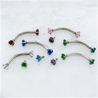 14G 316L STEEL CURVE WITH PRONG-SET ROUND GEM ENDS