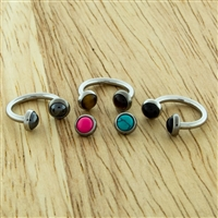 14G 316L STEEL HORSESHOE WITH BEZEL-SET STONE DISC ENDS