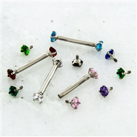 14G 316L STEEL STRAIGHT BARBELL WITH PRONG SET GEM ENDS