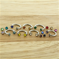 16G STEEL INTERNALLY THREADED HORSESHOE WITH PRONG SET GEM DISC ENDS