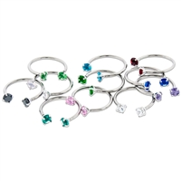 16G 316L STEEL HORSESHOE WITH PRONG-SET ROUND GEM