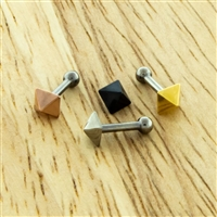 18G 316L STEEL STRAIGHT BARBELL WITH PYRAMID STUD- 2.5MM FIXED BALL ON ONE END