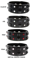 Black wristband with pyramid spikes and gems