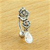 14G TOP DROP WITH ROSES AND CLEAR GEM TEARDROP BELLY RING