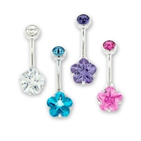 14G STEEL INTERNAL DOUBLE GEM FLOWER NAVEL RINGS