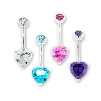 14G STEEL INTERNAL DOUBLE GEM HEART NAVEL RING