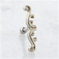 16G BARBELL WITH FILIGREE SWIRL