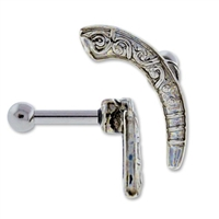 CURVE WITH SWIRLS EAR BARBELL