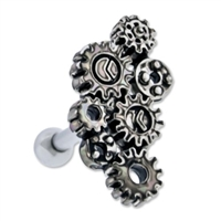 STEAMPUNK GEARS EAR BARBELL