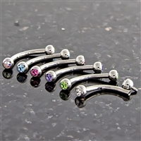 16G INTERNALLY THREADED CURVED BARBELLS W/ GEMS