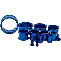 DARK BLUE ANODIZED INTERNALLY THREADED TUNNELS