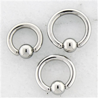 10G HAND POLISHED STEEL CAPTIVE BEAD RINGS