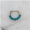 STEEL CAST 16G 5/16 SEPTUM CLICKER WITH 7 PRONG-SET TURQUOISE HOWLITE STONES