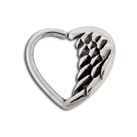 16G HEART ANGEL WING DAITH RING