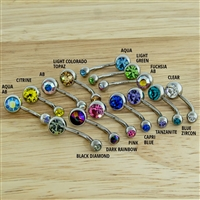 14G TITANIUM BEZEL SET DOUBLE GEM NAVEL RINGS