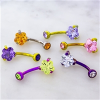 TITANIUM INTERNALLY THREADED PRONG SET FLOWER GEM NAVEL RING