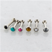 14G THREADLESS ASTM F136 TITANIUM BARBELL WITH CABOCHON DISC. ONE END IS FIXED BALL.