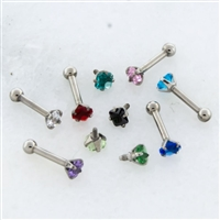 18G ASTM F136 TITANIUM STRAIGHT BARBELL WITH PRONG-SET RADIANT GEM