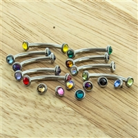 14G ASTM F136 TITANIUM CURVE WITH GEM DISC