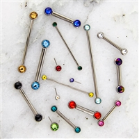 10G THREADLESS ASTM F136 TITANIUM BARBELL WITH FRONT FACING GEM BALLS
