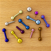 12G OR 10G THREADLESS ASTM F136 TITANIUM BARBELL WITH PLAIN BALL. ONE END HAS FIXED BALL.