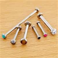12G THREADLESS ASTM F136 TITANIUM STRAIGHT BARBELL WITH CABOCHON DISCS