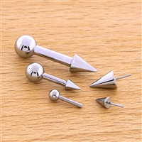 12G OR 10G THREADLESS ASTM F136 TITANIUM BARBELL WITH CONE. ONE END HAS FIXED BALL.