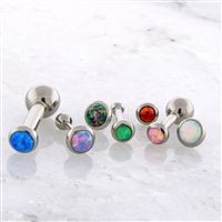 14G THREADLESS ASTM F136 TITANIUM BARBELL WITH OPAL DISC. ONE END IS FIXED BALL.