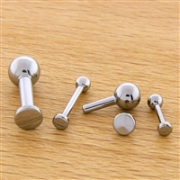 12G OR 10G THREADLESS ASTM F136 TITANIUM BARBELL WITH FLAT DISC. ONE END HAS FIXED BALL.