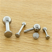 16G THREADLESS ASTM F136 TITANIUM BARBELL WITH FLAT DISC. ONE END IS FIXED BALL.
