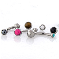 14G THREADLESS ASTM F136 TITANIUM CURVE WITH CABOCHON DISC. ONE END HAS FIXED BALL.