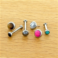 16G OR 18G THREADLESS ASTM F136 TITANIUM HELIX LABRET WITH CABOCHON DISC