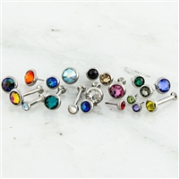 16G OR 18G THREADLESS ASTM F136 TITANIUM HELIX LABRET WITH GEM DISC