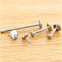 16G OR 14G THREADLESS ASTM F136 TITANIUM LABRET WITH FLAT DISC