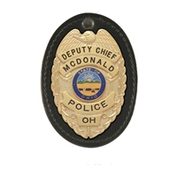 Boston Leather Oval Badge Holder,  Hook & Loop