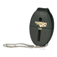 Boston Leather Oval Badge Holder,  Hook & Loop Closure w/Chain