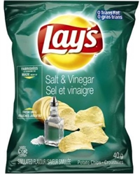 Lay's 40g Salt & Vinegar Potato Chip 40's Sugg Ret $1.50
