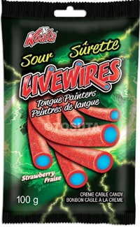 Livewires Sour Strawberry Tongue Painters Cream Cables 18/100g Sugg Ret $2.19***Prom Retail 2for $3.33***