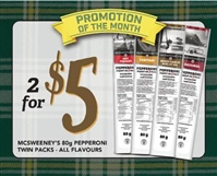 McSweeney's Pepperoni Twin 1 each Point of Sale Cards***PROMO RET 2 FOR $5.00***