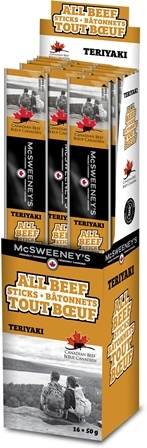 McSweeney's 50g All Beef Teriyaki Stick 16/50g Sugg Ret $3.19