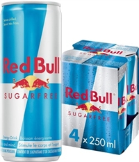 Red Bull 250 ml 4 Pack Sugar Free 6/4/250ml Sugg Ret $3.29 ea or $12.99/4 pack