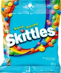 Skittles Peg Bag Tangy Tropical 12/191g Sugg Ret $4.49